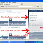 Startbildschirm im Browser am Beispiel des RTL Prepaid Surfstick. Hier knnen Sie Surfpakete buchen, das Guthaben einsehen oder Guthaben aufladen