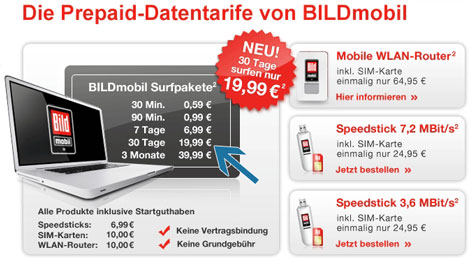 BILDmobil 30 Tage Surfpaket