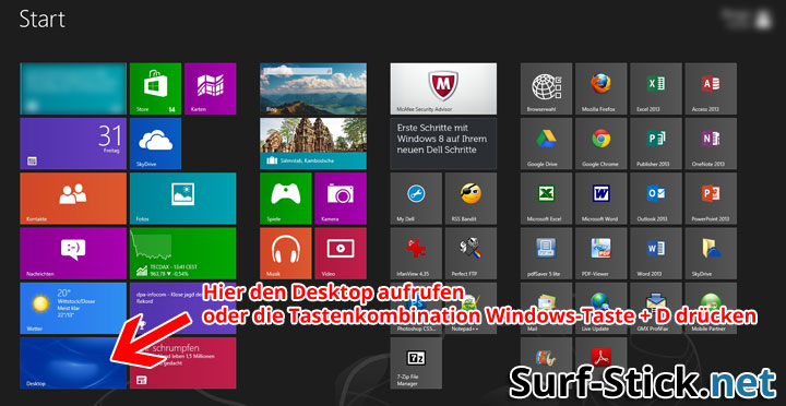 Windows 8 Desktop aufrufen